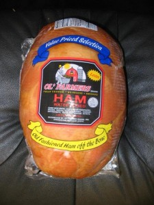 Ol farmer whole ham with label